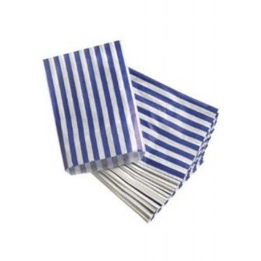 Blue/White Striped Paper Bag 127x178mm