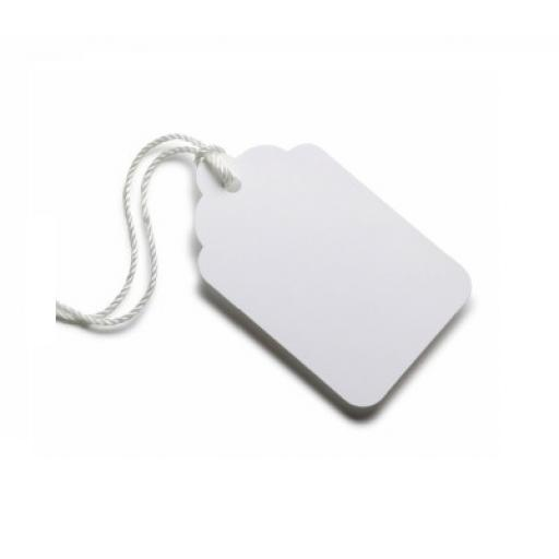 White Swing Tags with String 13x7mm