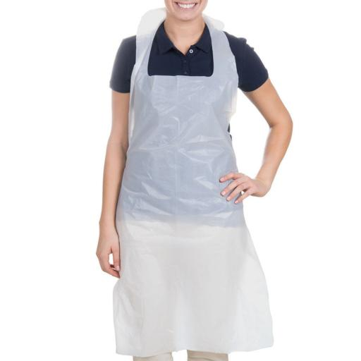 Disposable White Plastic Aprons (pack of 100)