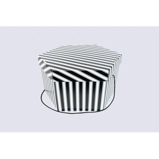 "Hat Box 17 x 9 1/2"" (420 x 241mm) Black and White"