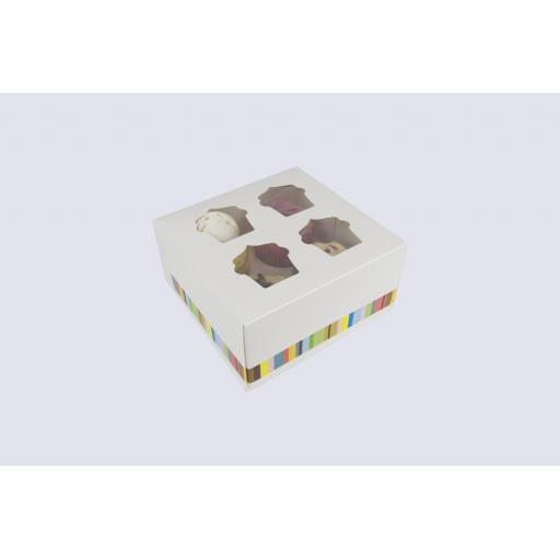 Patterned Cupcake Box with Windows holds 4