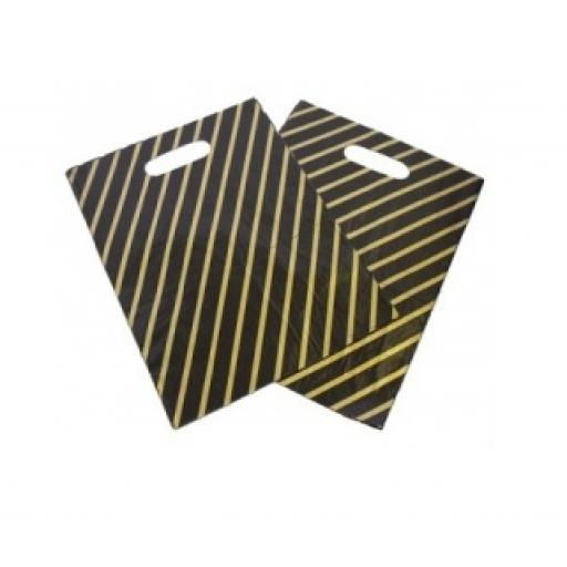 Black and Gold Striped Carrier Bags