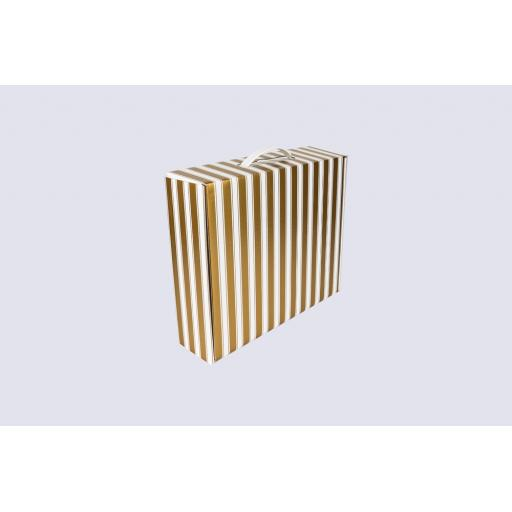 Premium Gift Box with flat handle 355 x 296 x 95mm Gold and White