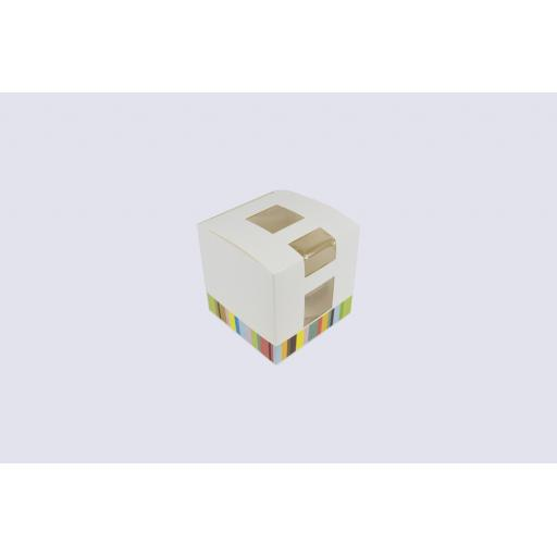 Patterned Cupcake Box with Windows holds 1 single