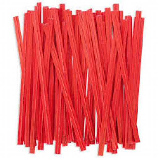 Red Wire Twist Ties - 90mm (500)