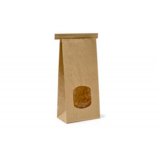 Brown Tin Tie Bag + Window 260x88+47mm