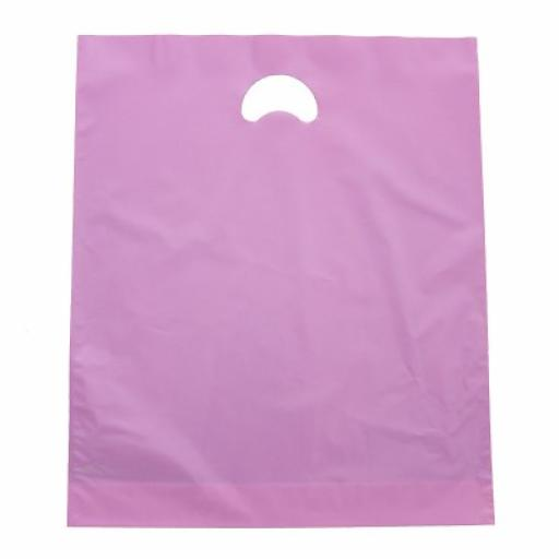 Pink Polythene Carrier 381x457+76mm