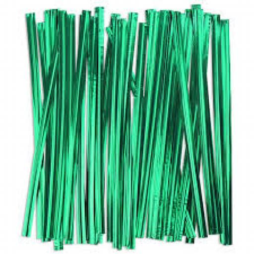 Green Wire Twist Ties - 90mm