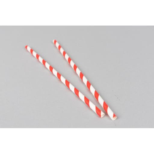 Red and White Striped Paper Drinking Straws