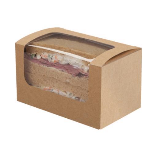 Kraft Sandwich Box With Window 125 x 77 x 72 mm