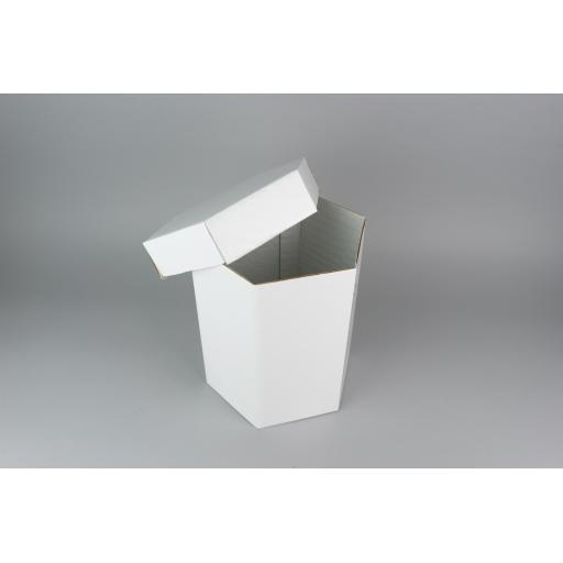 "Hexagonal hat box white 8 x 9"" (200 x 229 mm)"