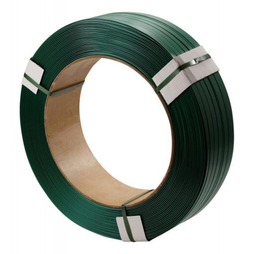 Green Embossed Polyester Strapping 15.5 mm x 1300m-580kg b/s