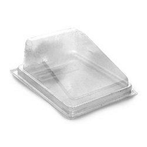 Plastic Cake Slice Hinged Lid 112x82x60mm