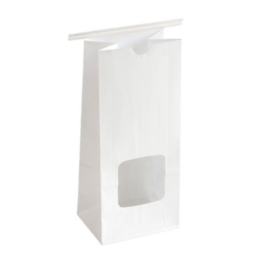 White Tin Tie Bag + Window 242x155+70mm