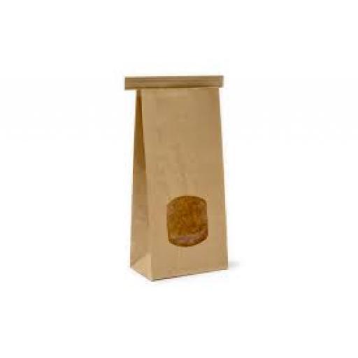 Brown Tin Tie Bag + Window 242x155+70mm