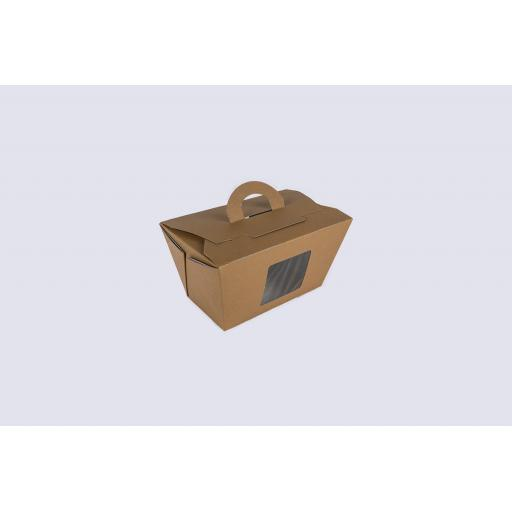 Brown carry carton with window 168/114 x 100/70 x 89 mm