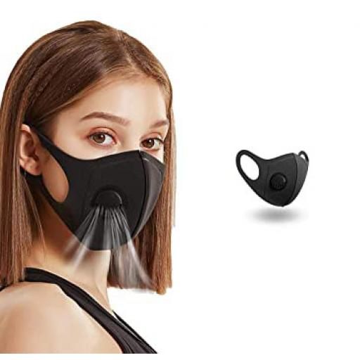 Reusable Black Face Covering With Valve