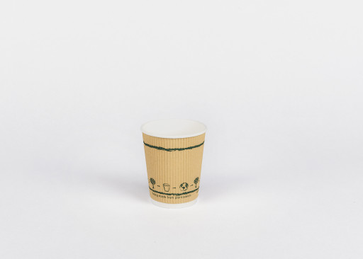 8oz Compostable Triple Wall Ripple Paper Cup